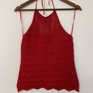 High neck knitted tank top